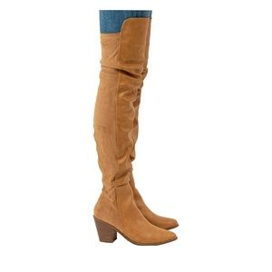 Women's Chunky Heel Nude Over The Knee Boots